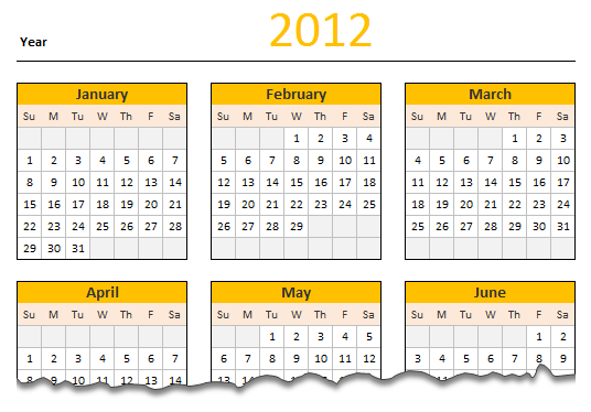 Free Printable 2012 Calender with editable text