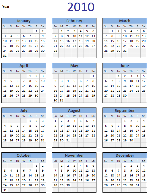 Free 2010 Calendar - Download and Print Year 2010 Calendar today ...