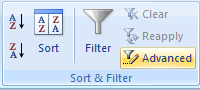 Advanced Filter Option in Data Ribbon - Microsoft Excel
