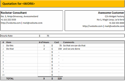 Excel quote template hourly billing quotation template in ms excel