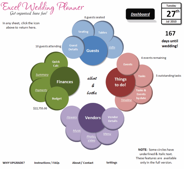 Here is how the home page of wedding planner workbook looks like