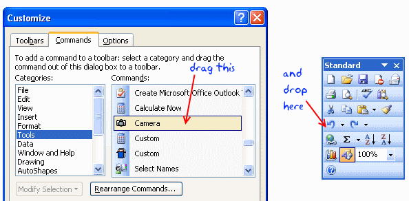 Adding Camera tool to Excel Toolbar