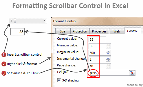 Set Properties for this Scroll-bar - Excel