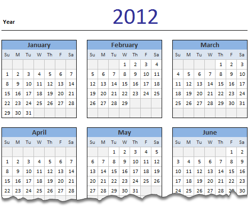 2012 Calendar – Excel Template [Downloads]