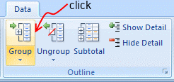 Group / Ungroup Data - Excel 2007
