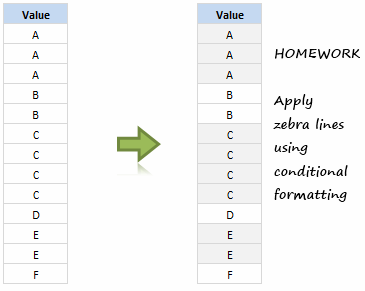 Zebra Lines when value changes - Excel Conditional Formatting Homework
