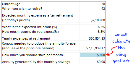 Retirement Planning Worksheet using Excel