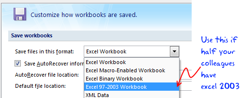 save excel 2007 files in excel 2003 version