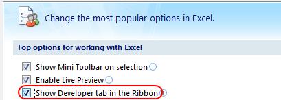 show developer toolbar excel 2007