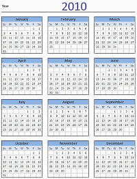 2010 Calendar – Excel Template [Downloads]