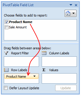 Draf the fields to row label area of Pivot Table - Excel