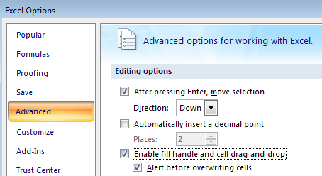 Enable Fill Handle from Excel Options