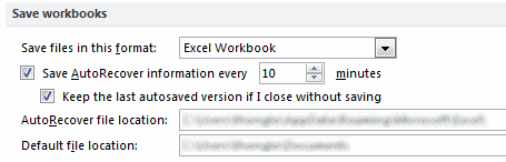 Auto Recovery Options in Excel