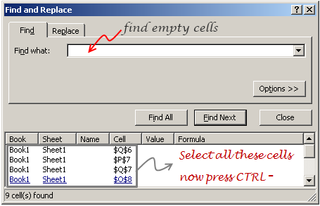 Finding blank cells using FIND dialog