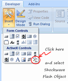 Inserting Flash Objects in to Excel