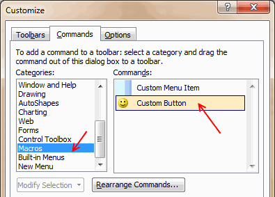Add Macro button to Excel 2003 toolbar