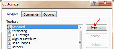 Add new toolbar - Excel 2003