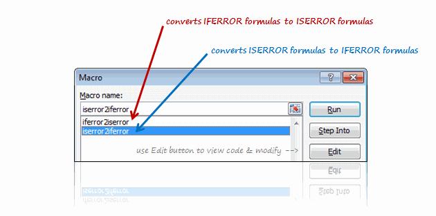 Convert ISERROR formulas to IFERROR formulas and vice-a-versa - Excel Macros