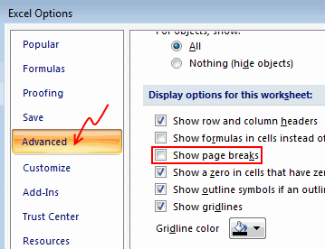 Disable Page Break lines in Excel 2007 - Excel Options & Customization - Chandoo.org