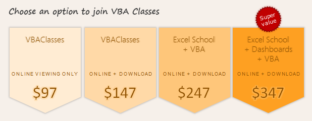 VBA Classes - Signup Options