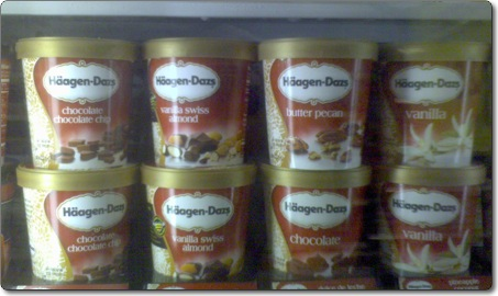 haagen dazs on the other hand seems to be focussing on product