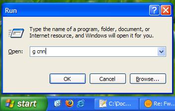 how to use windows xp run dialog as search box