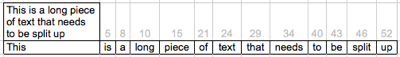 Splitting text in excel using formulas