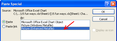 Use paste special when copying charts to PowerPoint, it saves space as well - Excel Customization Hacks