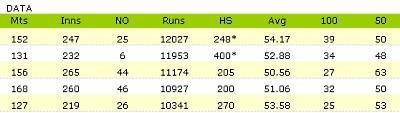 test-cricket-sample-data-table