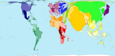 World Map Cartogram - Country Area by Population