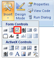 Add check-boxes to Excel - Form Controls