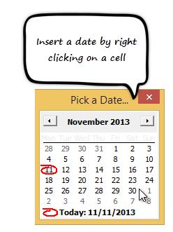 pop-up calendar vba excel