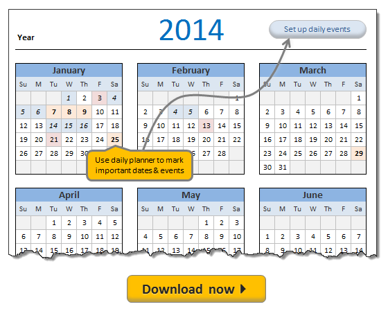 Free 2014 Calendar, daily planner templates [download]