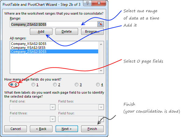 How to set up multiple consolidation ranges in Excel - Pivot tables