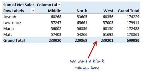 How to insert a blank column in pivot table?