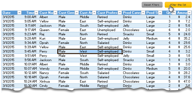 Quickly filter a table by combination of selected cell values using VBA