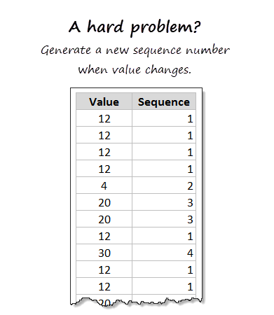 Generating sequence numbers from cluster values [VLOOKUP to the rescue]