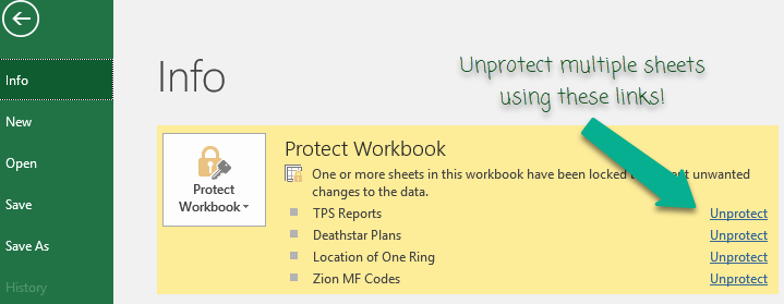 Use File > Info to quickly unprotect multiple worksheets [Quick tips]
