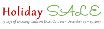 Holiday SALE - Chandoo.org - Get Excel School & VBA Classes at discount