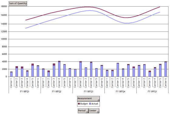 A Pivot Chart show the Budget vs. Actual Performances