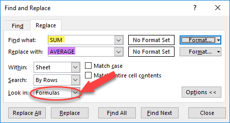 Quickly Change Formulas Using Find / Replace