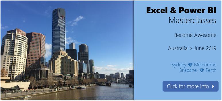 Excel & Power BI masterclasses in Australia - June 2019