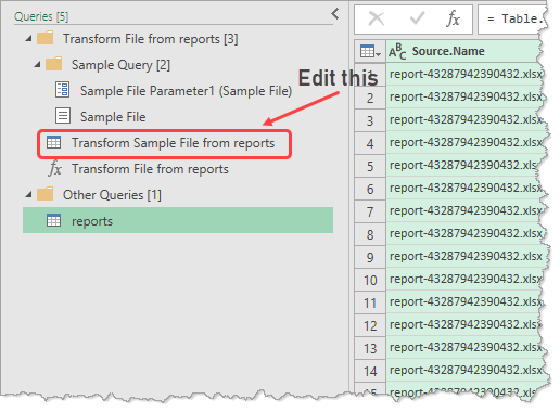editing transform sample - powerquery combine files