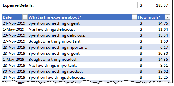 expense details - itemized - sample data