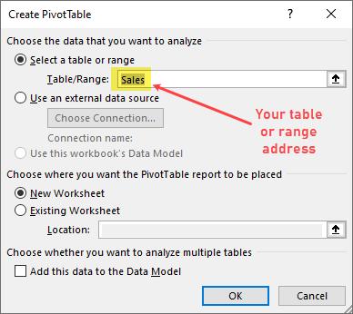 Create Pivot Table dialog