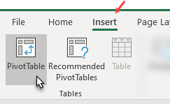 Insert Pivot Table button - Excel ribbon