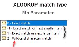 xlookup 5th paramter - match options