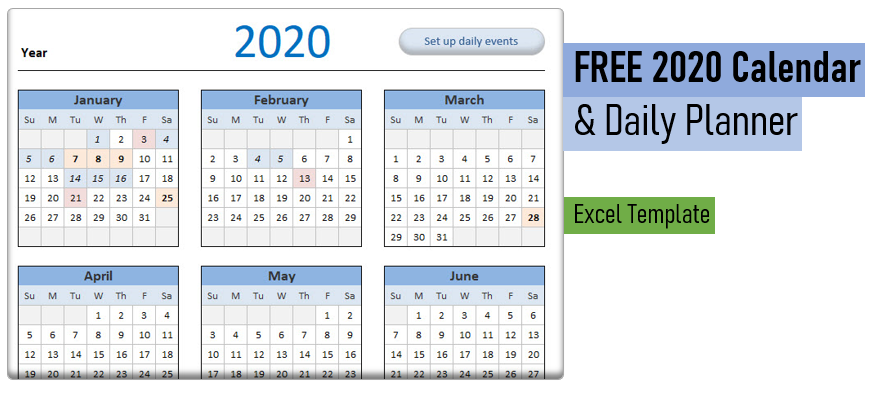 Free 2020 Calendar Template & Daily Planner