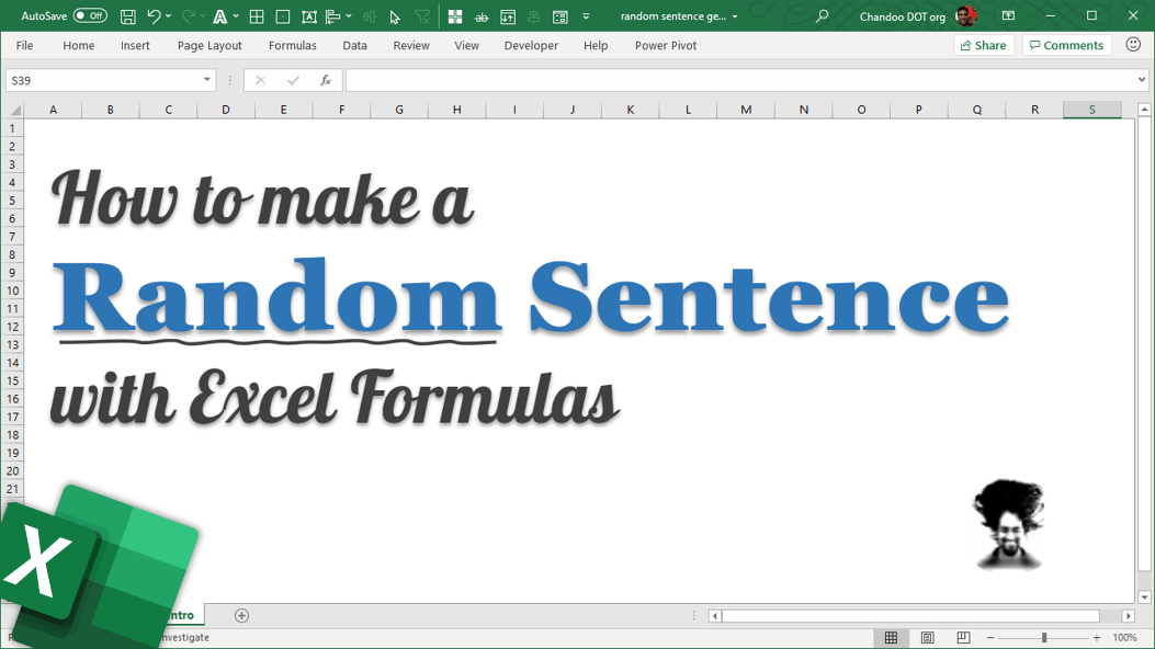 Make a random sentence with Excel formulas