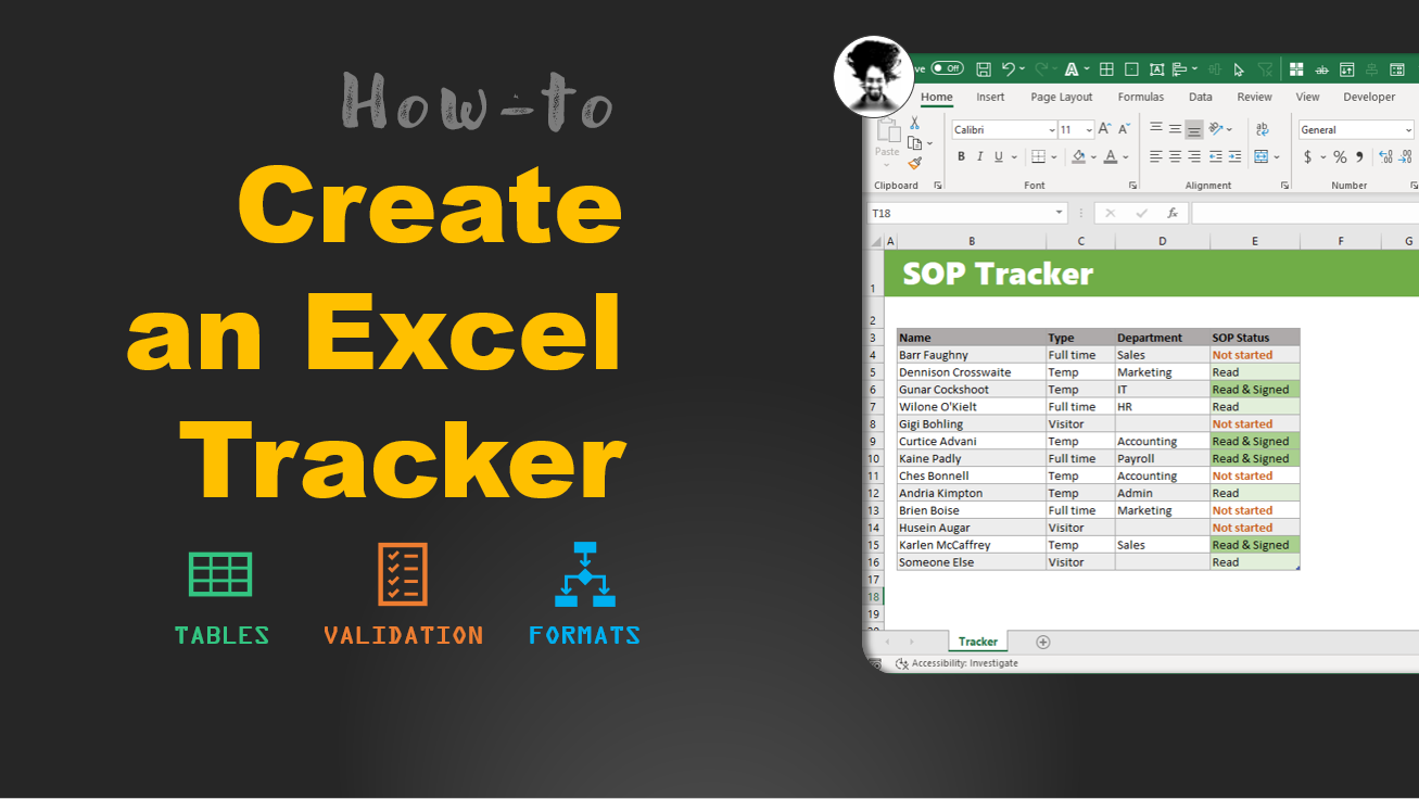 Create an excel tracker - step by step tutorial